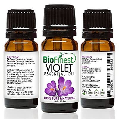 Biofinest Violet Essential Oil - 100% Pure Organic Therapeutic Grade - Best for Aromatherapy, Relaxing Sleep, Skin Moisturizer, Cosmetics, Ease Stress Anxiety Migraine - FREE E-Book