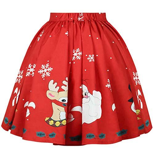 Women's Sexy Christmas Skirt Santa Snowflake Printed A-Line