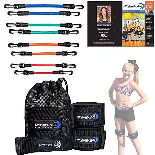 Kinetic Bands Dance Leg Resistance Bands and Flexibility Strap Training Kit - Ballet Dancer Body Conditioning, Strength, Endurance - Digital Training Download