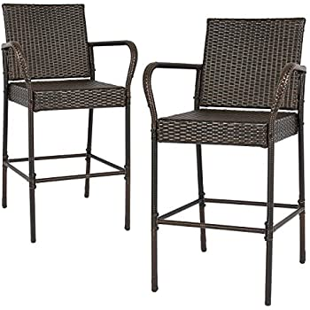 tangkula set of 2 patio outdoor wicker barstool pool furniture brown