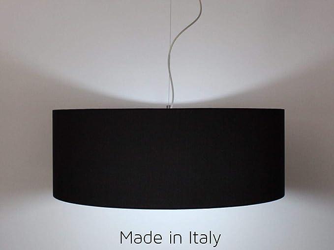 Lámpara de techo cilíndrica de 50 cm de diámetro, tela negra ...