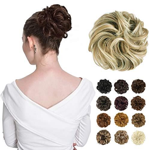 FESHFEN Synthetic Hair Bun Extensions Messy Hair Scrunchies Hair Pieces for Women Hair Donut Updo Ponytail 16h613 Light Ash Brown amp Bleach Blonde