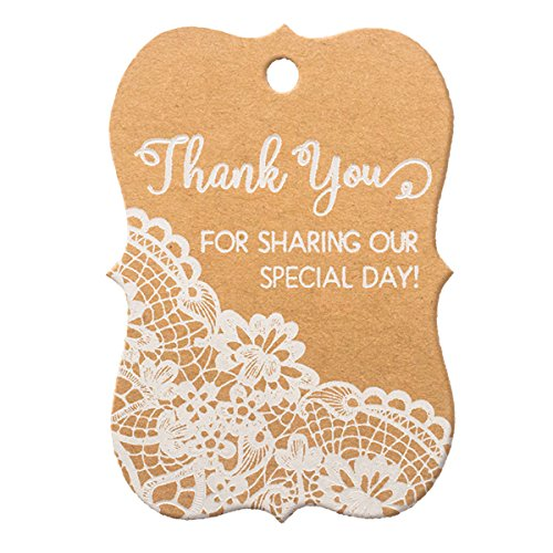 Summer-Ray 50pcs White Printing Little Violin Thank you for Sharing Our Special Day Wedding Favor Brown Kraft Gift Tags by Summer-Ray.com