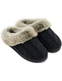 Women's Soft Yarn Cable Knitted Slippers Memory Foam...
