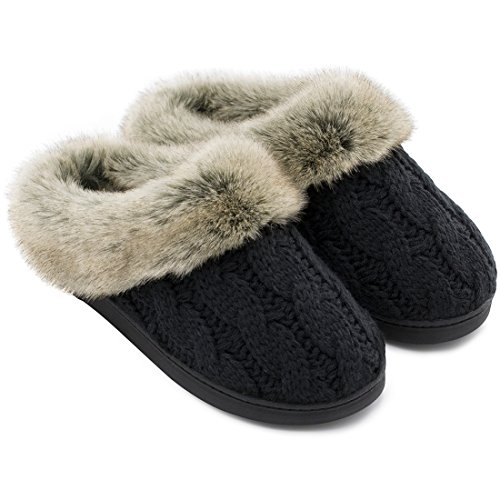 Women's Soft Yarn Cable Knit Slippers Memory Foam Anti-Skid Sole House Shoes w/Faux Fur Collar, Indoor & Outdoor (Medium / 7-8 B(M) US, Black)