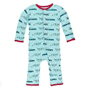 Kickee Pants Little Boys Print Coverall With Snaps - Shining Sea Woody, 0-3 Months