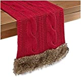 Holiday Cozy Claus Table Runner Trimmed With Faux Fur in Red (90'' Runner)