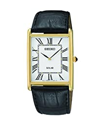 Seiko SUP880 Men's Solar Stainless Black Leather Band White Dial Gold Watch