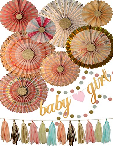 Elegant Floral Baby Shower Decorations Set for Girls - Pink and Gold Party Supplies, Baby Girl Glitter Gold Banner, Hanging Tissue Tassels, Rustic Circle Garlands, Paper Fans - Girl Hanging