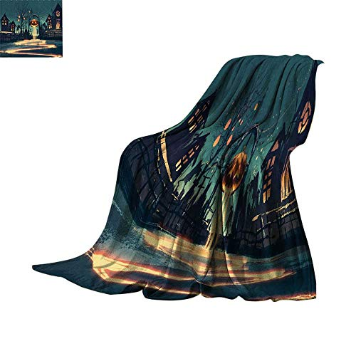 Custom homelife Cozy Flannel Blanket Fantasy Art House Decor,Halloween Theme Night Pumpkin and Haunted House Ghost Town Artful,Teal Orange Lightweight Thermal Blankets Bed or Couch 70