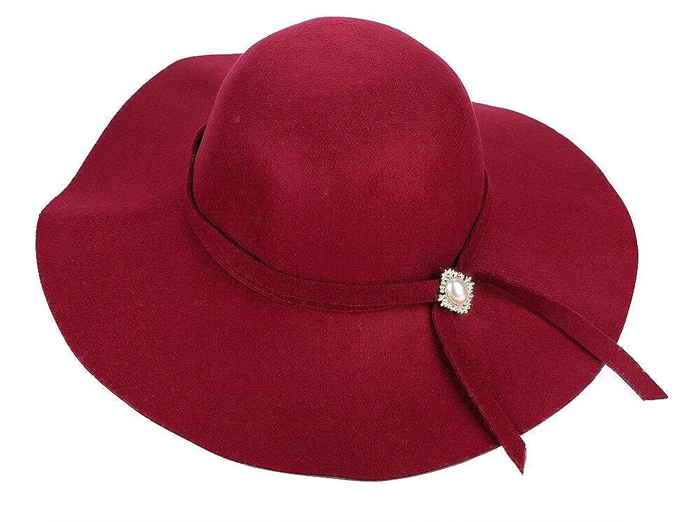 Women Wool Wide Brim Hats Winter Warm Stylish Floppy Bucket Ribbon Sun Hats Caps