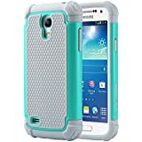 """Galaxy S4 Mini Case, ULAK Hybrid Case with Dual Shock Resistant Soft silicone Case Design and Hard PC Construction for Samsung Galaxy S4 Mini (4.3"""" inch) 2013 Release Mint Green+Grey"""