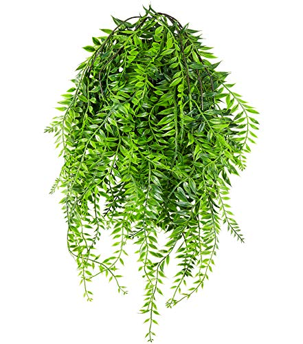 Artificial Plants Greenery Weeping Willow Fake Hanging Vine Plant Faux Ivy Garland UV Resistant Plastic Plants for Indoor/Outdoor Garden Wall Greenery Hanging Baskets Wedding Party Garland Decor-2 Pcs - Faux Ivy Plant