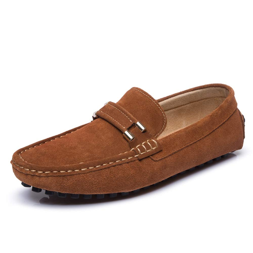 Brown JIALUN-shoes Men's Loafers Slip on Drive Moccasin Suede Leather Fashion Buckle Slippers Penny Boat shoes