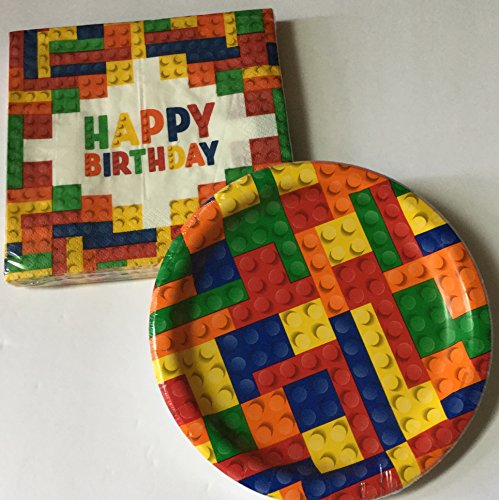 Block Party Supplies for 20 -- Block Party 7 inch dessert plates (20) and 12 inch Napkins (20) (Bundle of 2 items) Total 40 (Boy Cake Plates)