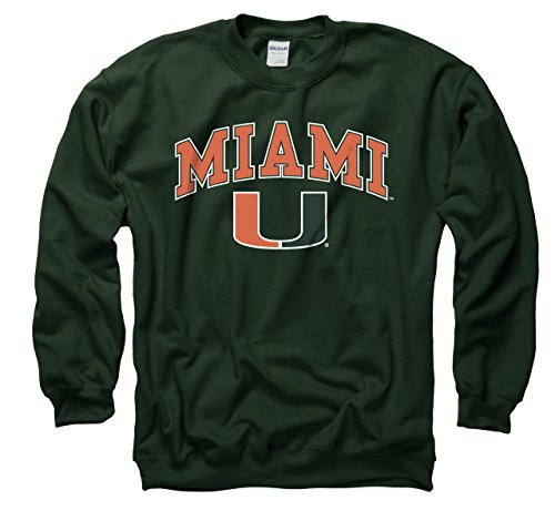 (Campus Colors Miami Hurricanes Adult Arch & Logo Gameday Crewneck Sweatshirt - Green, XX-Large )