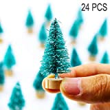 Fashionme Artificial Mini Sisal Pine Snow Frosted Trees with Wooden Base Bottle Brush Trees Plastic Winter Ornaments Tabletop Trees for DIY Crafting Displaying Decoration (Blue Green, 24PCS)