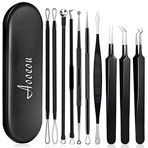 [Upgrade]Pimple Popper Tool, Aooeou 10 Pcs Professional Pimple Comedone Extractor Popper Tool Acne Removal Kit – Treatment for Pimples, Blackheads, Forehead,Facial and Nose