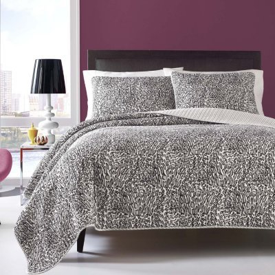 Betsy Johnson Twin Quilt Set (Wild Leopard Grey) ()