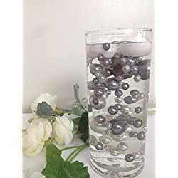 Vase Filler Pearls For Floating Pearl Centerpieces, 80 Gray And Light Silver Pearls Jumbo & Mix Size No Hole Pearls, (Transparent Gel Beads Required To Create Floating Pearls Sold separately)