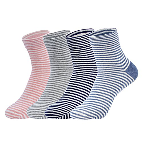 Gather Other Women's Healthy Casual Crew Cotton Striped Ankle Socks,4 Pairs from Gather Other