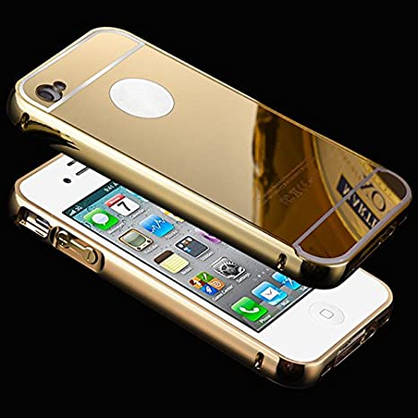 Luxuries Metal Bumper Back Cover for Apple Iphone5+ Free Tempered Glass Protector 2.5D Anti Shuttered Gold  Mobile Accessories