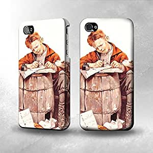 Apple iPhone 4 / 4S Case - The Best 3D Full Wrap iPhone Case - Boy Writing Letter