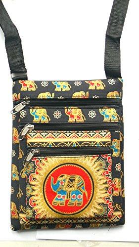 Nero tre tasca elefante borsa a spalla con tracolla regolabile