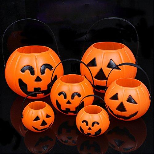 MLM Halloween Pumpkin Lantern With Lights For Kids Small Pumpkin Bucket - Orange Plastic Candy Pail Holder Treat or Trick