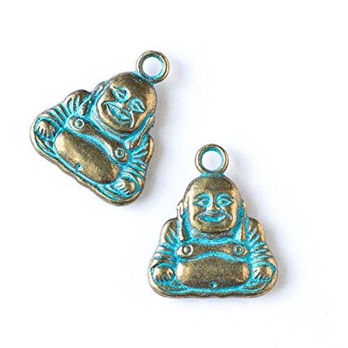 Cherry Blossom Beads Green Bronze Colored Pewter 21x25mm Happy Buddha Charm - 6 per bag (Charms For Jewelry Making Buddha)