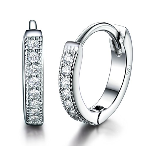 MASOP 925 Sterling Silver 13mm Round Tiny Hoop Huggie Earrings Cuff with Cubic Zirconia for Cartilage Women Girls, Mother's Day Mom Jewelry Gifts from Daughter Son ()