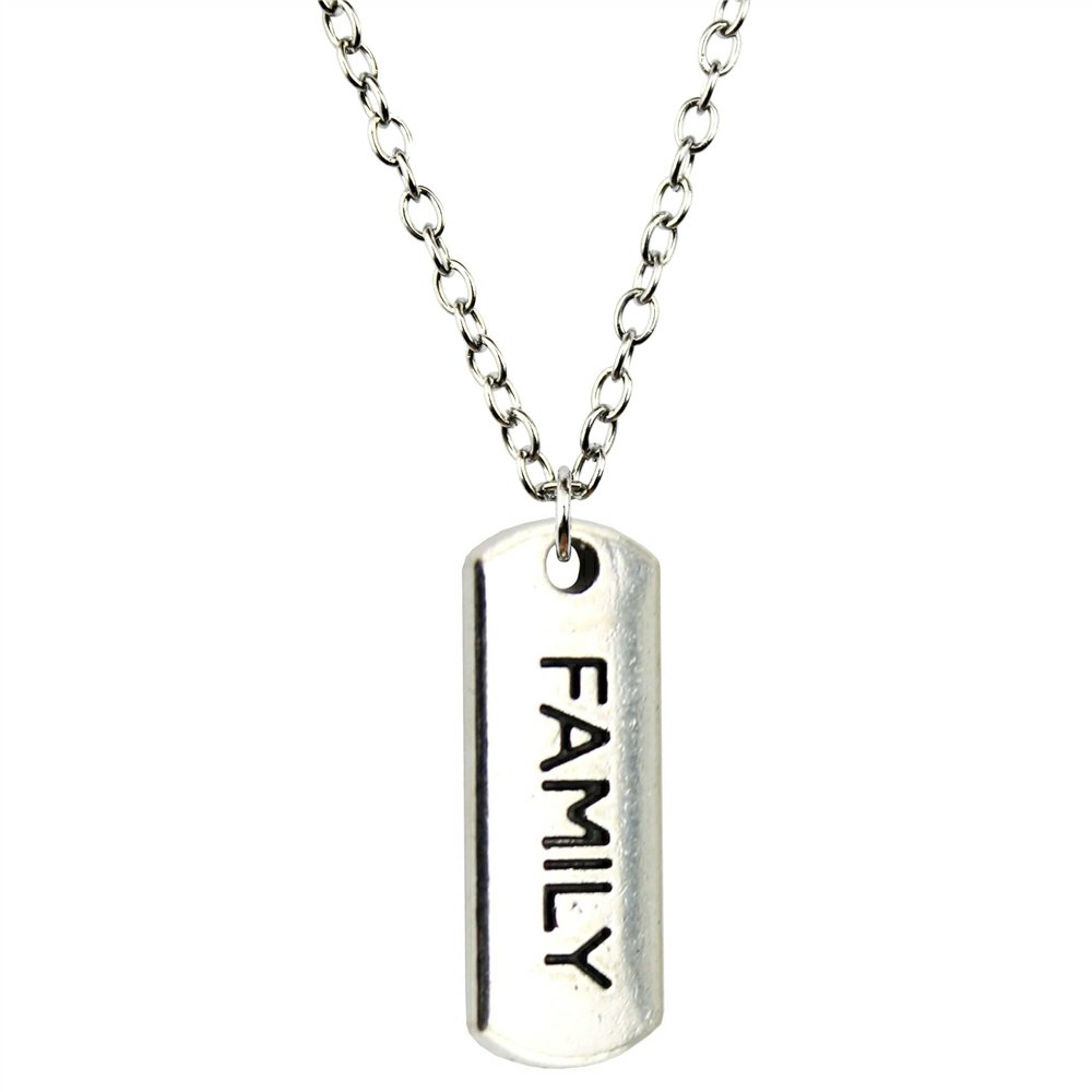 NEWME Family Tag Charms Metal Chain Necklace For Anniversary Handmade Jewelry Kraftpaper Box Gifts