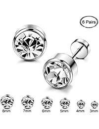 6 Pairs Stainless Steel CZ Stud Earrings for Women Girls Cartilage Stud Earrings Screwback Silver Tone 3-8mm