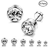 ORAZIO 6 Pairs Stainless Steel CZ Stud Earrings for Women Girls Cartilage Stud Earrings Screwback Silver Tone 3-8mm