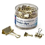 Officemate Binder Clips, Gold, Assorted Sizes, 30 Clips in Tub (31022) 4-Pack