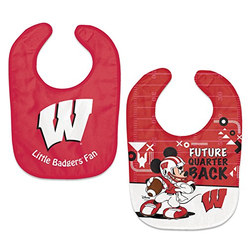 NCAA Wisconsin Badgers and Mickey Disney 2-Pack All-Pro Adjustable Baby Bibs