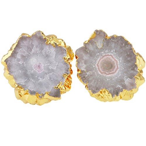 - SUNYIK Natural Quartz Geode Druzy Stud Earrings, Irregular Natural Color