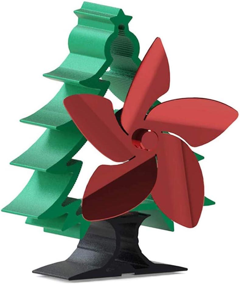 Ventilador de estufa de calor con forma de árbol de Navidad Ventilador de chimenea de 5 aspas para madera / quemador de leña / chimenea para el hogar