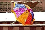 Indian Bohemian Indian Handmade Design, Cotton Multi Color Embroidery Sun Umbrella Parasol 24 Inches
