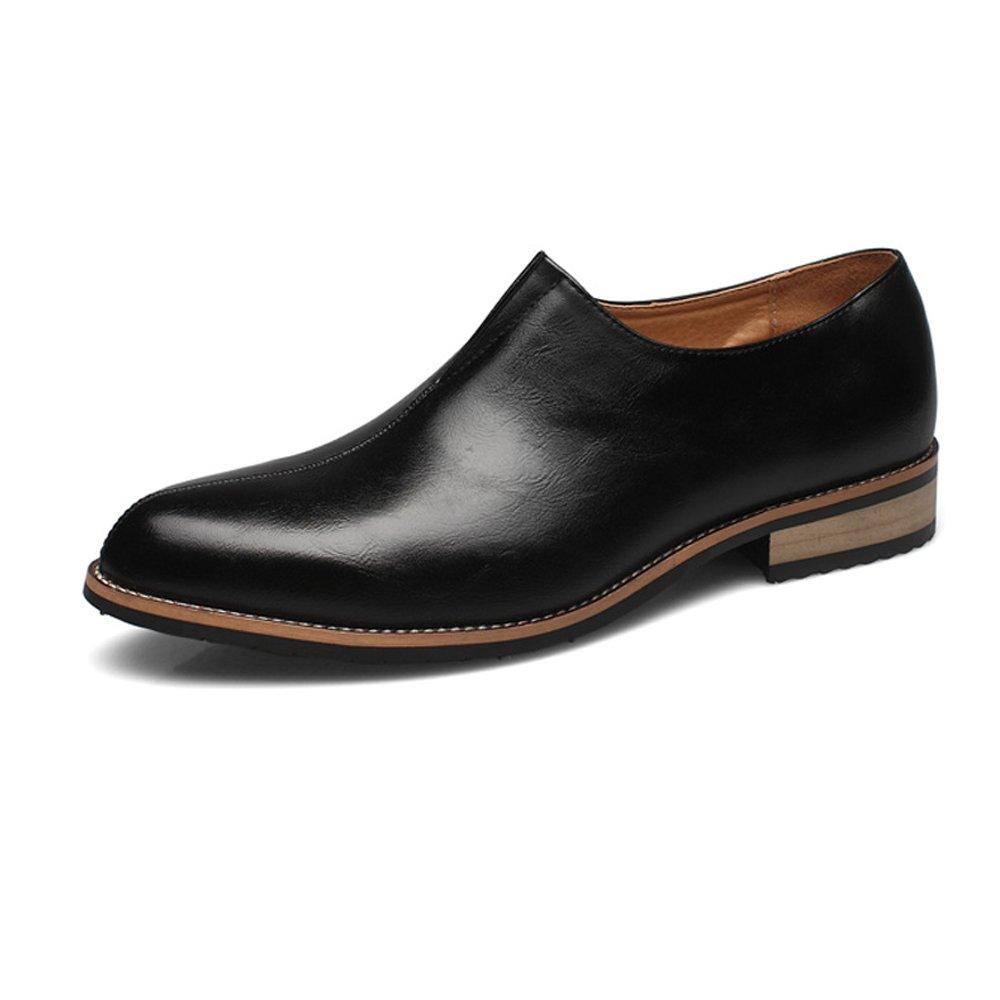 SCSY-Oxford-Schuhe Einfache Männer Blockabsatz PU Leder Vamp Schuhe Slip-on Breathable Breathable Breathable Gefüttert Business Oxfords  904cd6