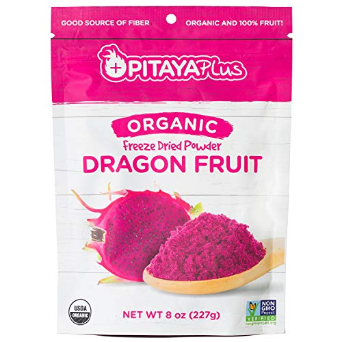 Pitaya Plus - Organic Dragon Fruit Powder or Red Freeze Dried Pitaya Powder 8 oz. Healthy Natural Food Coloring for Pink Recipes with 100% Pure Dragon Fruit. USDA Organic, Non-GMO, Kosher, B-Corp.