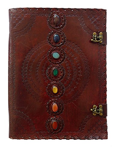 Leather Journal Seven Chakra Medieval Stone Embossed Handmade Book of Shadows Notebook Office Diary College Book Poetry Book Sketch Book 10 x 13 Inches (Journal Shadows)