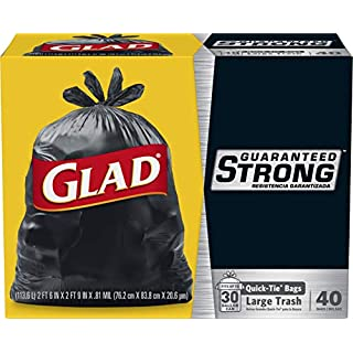 Glad Large Quick-Tie Trash Bags - Extra Strong 30 Gallon Black Trash Bag - 40 Count (Package May Vary)