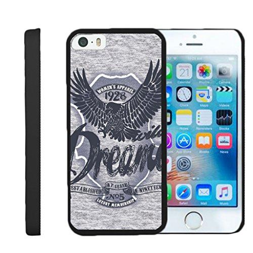TurtleArmor | Compatible for Apple iPhone SE Case | iPhone 5/5s Case [Slim Duo] Slim Clip On Hard Cover Protector Matte Unique Designs on Black - Wild Eagle (Protector Dreamer Design)