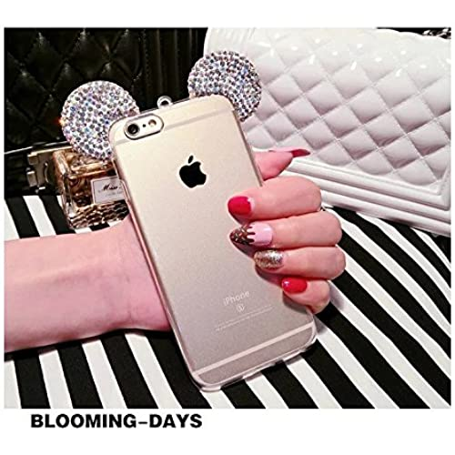 S7 edge Case,MAX-BLV Galaxy s7 edge Cute 3D Handmade Diamond Bling Mouse Ears Bear Ears with hang rope Metal Buckle Pendant Soft TPU Clear Cover for Sales