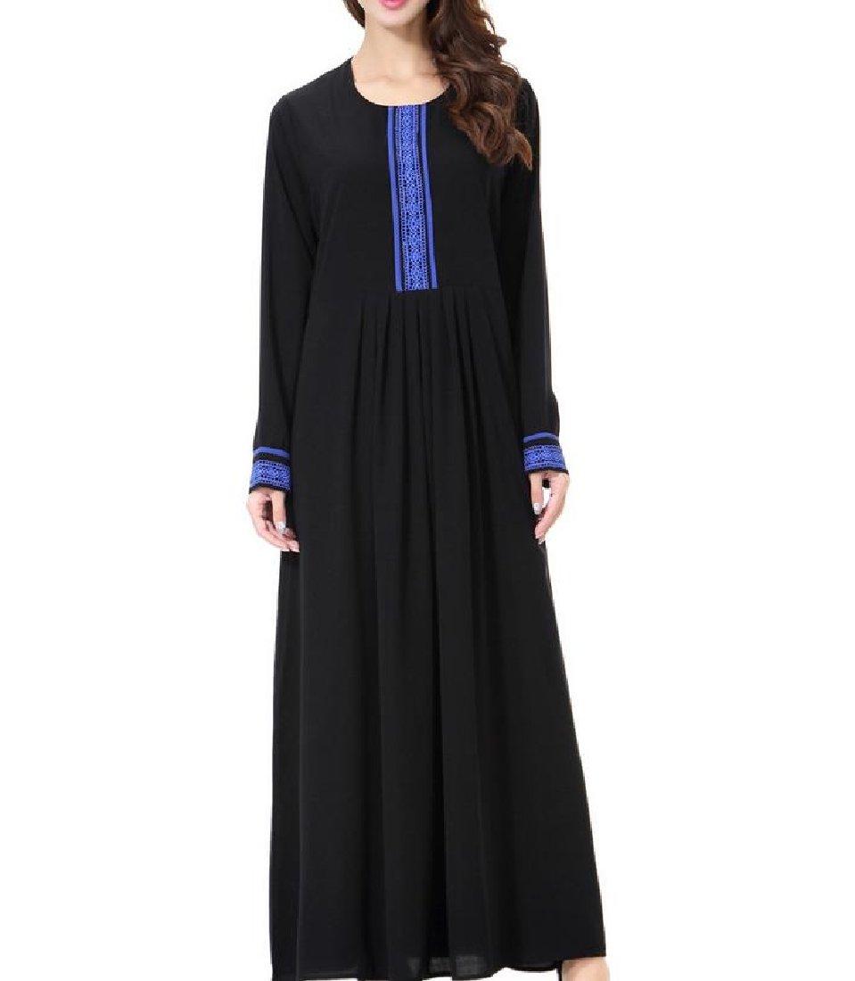 Fieer Womens Abaya Muslim Kaftan Crew Neck Maxi All-Match Lace Hem Muslim Dress Blue M