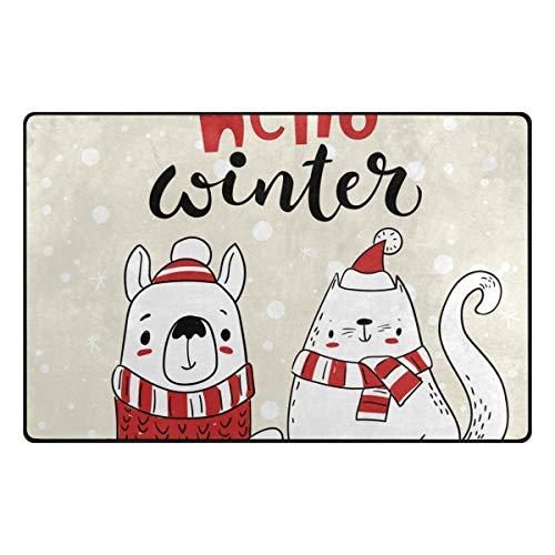 """Price comparison product image My Little Nest Hello Winter Cartoon Dog Lightweight Doormat 31"""" x 20"""",  Memory Sponge Indoor Outdoor Decor Carpet for Entrance Living Room Bedroom Office Kitchen Hallway"""