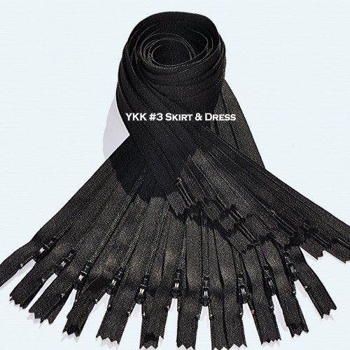 9\ Zipper YKK #3 Skirt & Dress ~ Black (12 Zippers / Pack) 580 black
