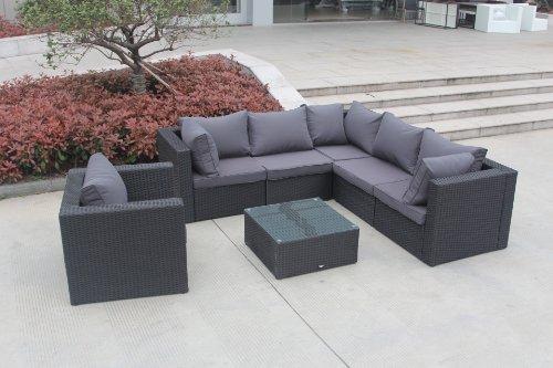 Rattan lounge schwarz  Amazon.de: AJ's Garden NEW JERSEY / Farbe braun Poly-Rattan ...