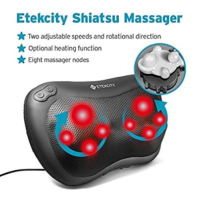 Etekcity Back/ Neck Shiatsu Massager, Massage Pillow with Heat 8 Rollers for Muscles, Portable Deep Kneading Relax in Home Car Office
